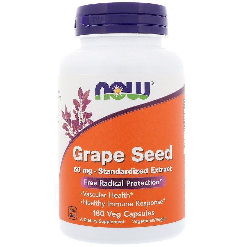 Экстракт виноградных косточек (Grape Seed), Now Foods, 180 кап. в растительной оболочке