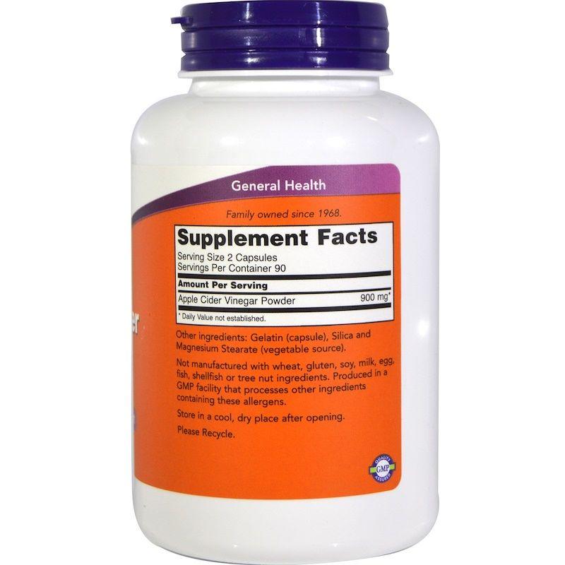 Яблочный сидровый уксус, Now Foods, 450 мг, 180 капсул