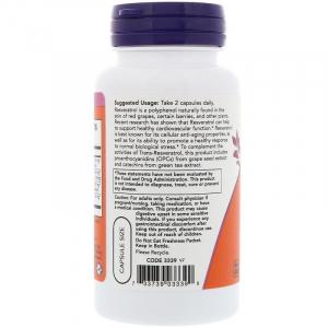Ресвератрол (Resveratrol), Now Foods, 60 капсул
