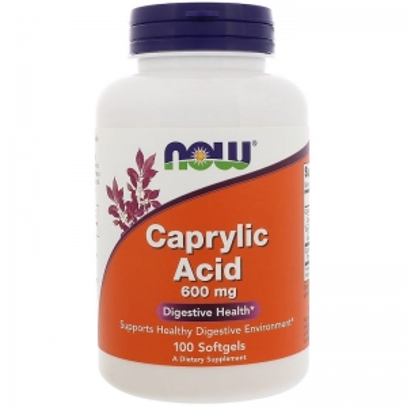 Каприловая кислота, Caprylic Acid, Now Foods, 600 мг, 100 капсул