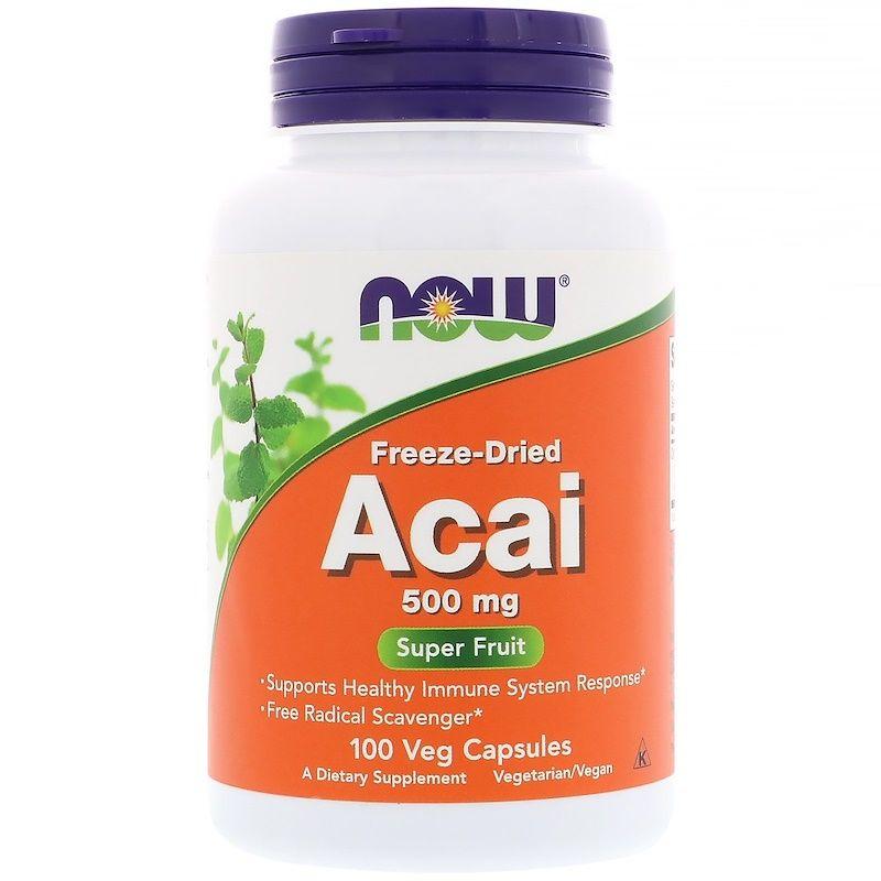 Асаи, Acai, Now Foods, 500 мг, 100 капсул