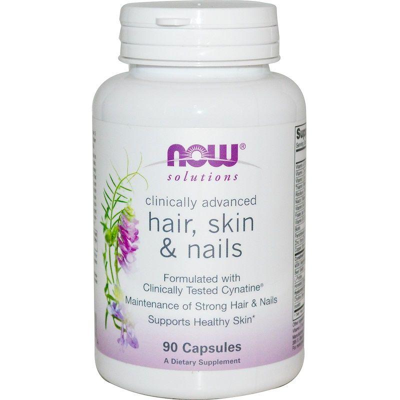 Витамины для волос, ногтей и кожи, Hair, Skin & Nails, Now Foods, Solutions, 90 капсул