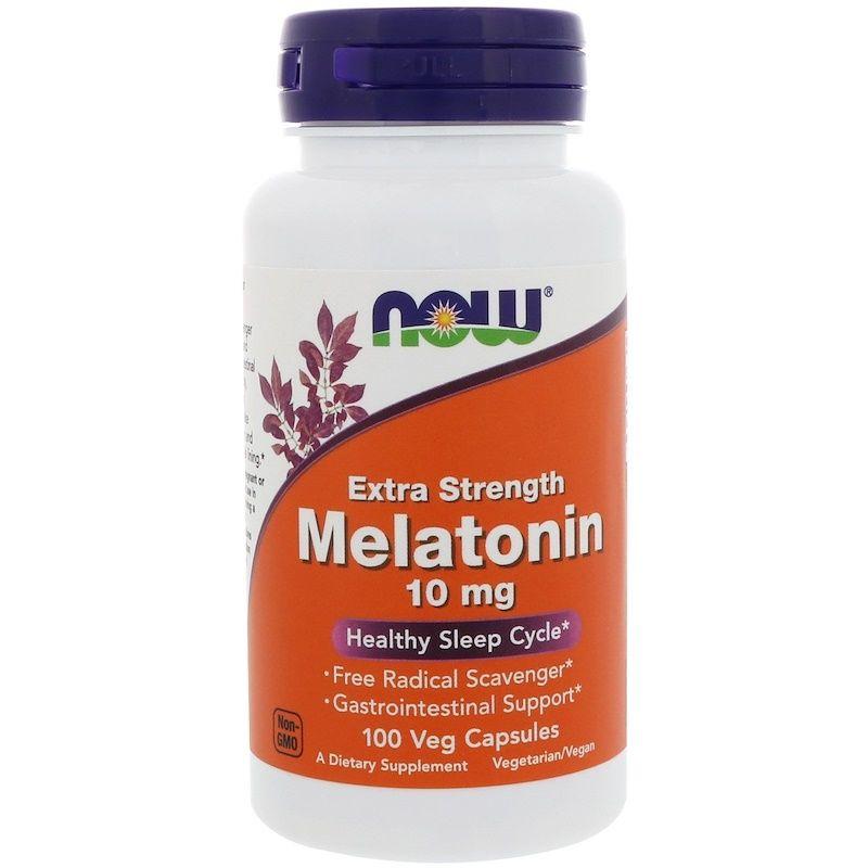 Мелатонин, Melatonin, Now Foods, 10 мг, 100 вегетарианских капсул