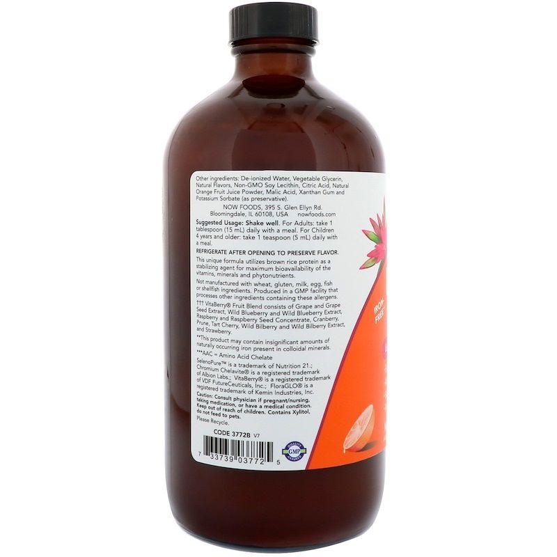 Мультивитамины, Liquid Multi, Now Foods, апельсин, 473 мл