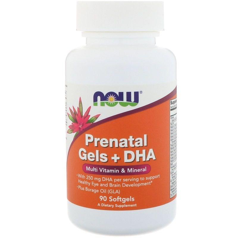 Витамины для беременных с рыбьим жиром, Prenatal Gels + DHA, Now Foods