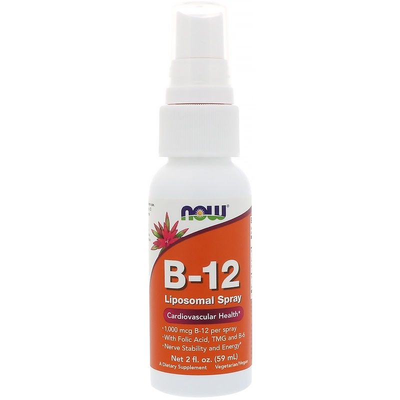 Витамин В12, Now Foods, липосомальный спрей, 1000 мкг, 59 мл.