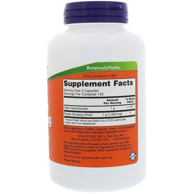 Женьшень, Panax Ginseng, Now Foods, 500 мг, 250 капсул
