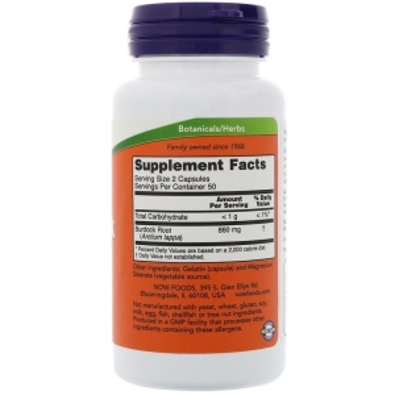 Корень лопуха, Burdock Root, Now Foods, 430 мг, 100 капсул
