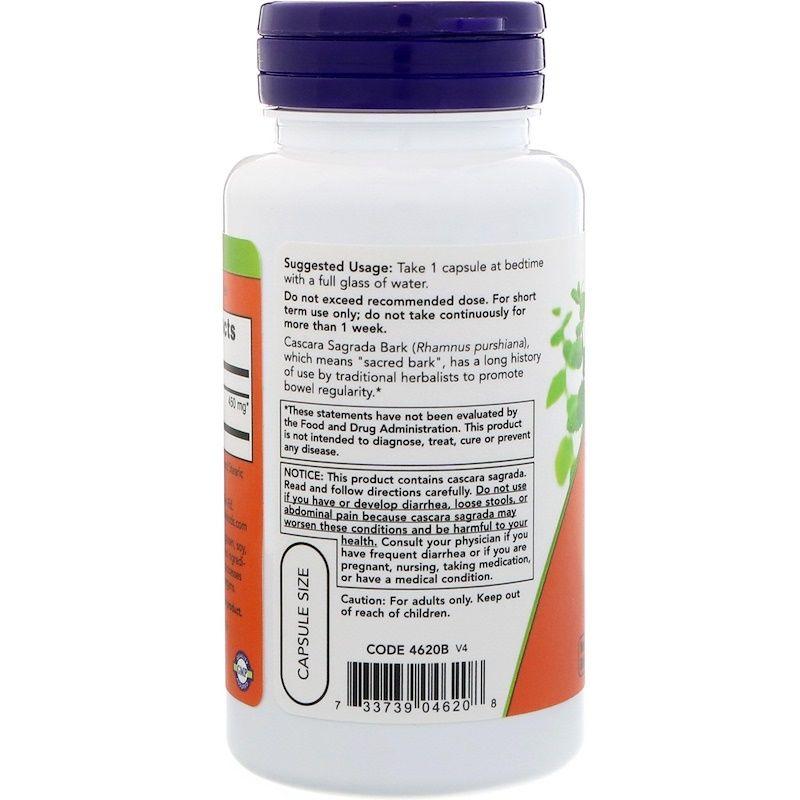 Каскара саграда, Cascara Sagrada, Now Foods, 450 мг, 100 капсул