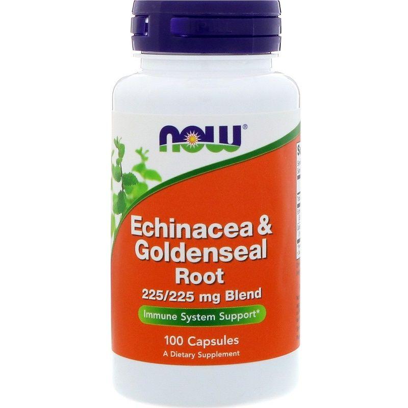 Эхинацея (Echinacea) и желтокорень, Now Foods, 100 капсул