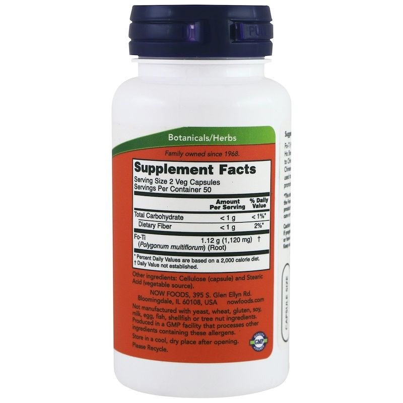 Горец многоцветковый, Fo-Ti, Now Foods, 560 мг, 100 капсул