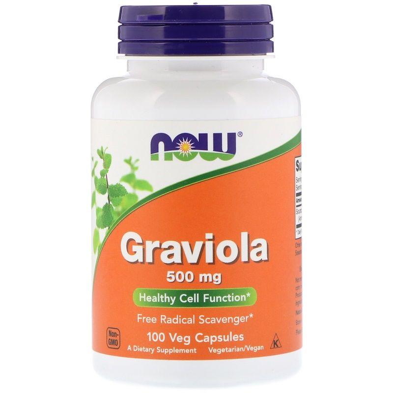 Гуанабана, Гравиола (Graviola), Now Foods, 500 мг, 100 капсул