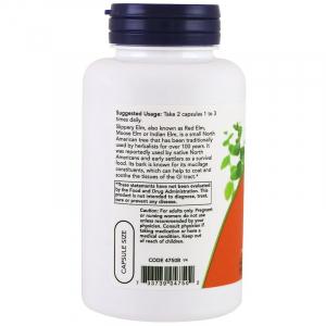 Скользкий вяз (Slippery Elm), Now Foods, 400 мг, 100 капсул
