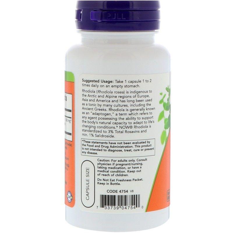 Родиола розовая (Rhodiola), Now Foods, 500 мг, 60 капсул