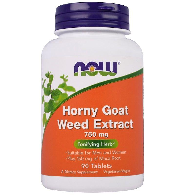 Горянка с макой (Horny Goat Weed), Now Foods, экстракт, 750 мг, 90 таблеток