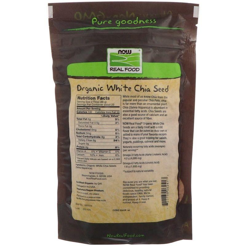 Cемена Чиа, Chia Seed, Now Foods, белые, 454 гр