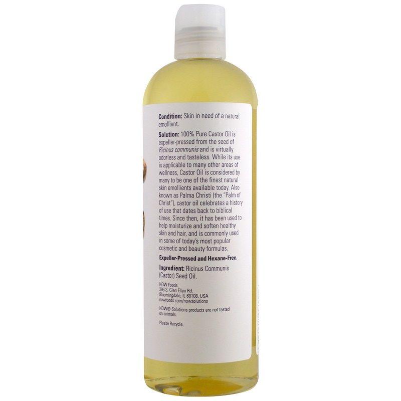 Касторовое масло, Castor Oil, Now Foods, Solutions, 473 мл.