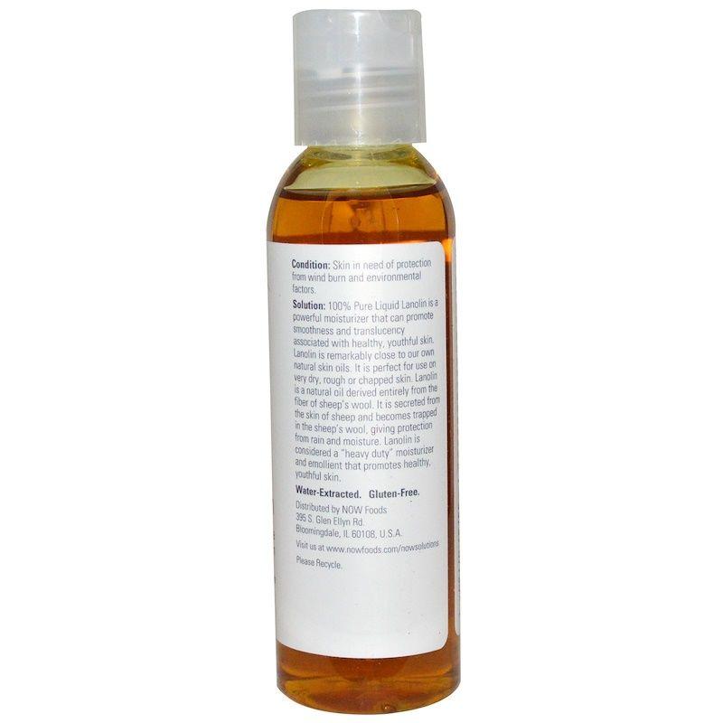 Ланолин жидкий, Liquid Lanolin, Now Foods, Solutions, 118 мл