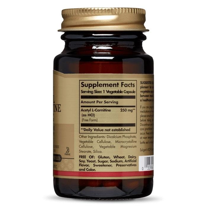 Ацетил -L карнитин, Solgar, 250 мг, 30 капсул