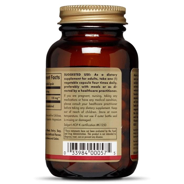 Альфа-липоевая кислота, Solgar, 120 мг, 60 капсул