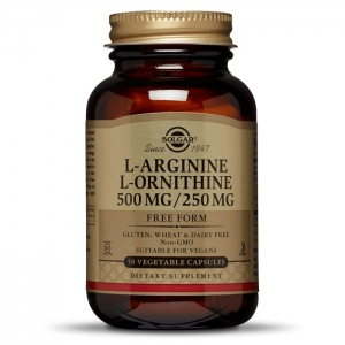 Aргинин, орнитин, Solgar, 500/250 мг, 50 капсул