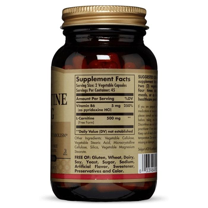 L-карнитин, Solgar, 250 мг, 90 капсул