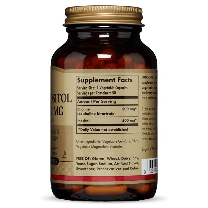 Холин и Инозитол, Solgar, 500 мг, 100 капсул