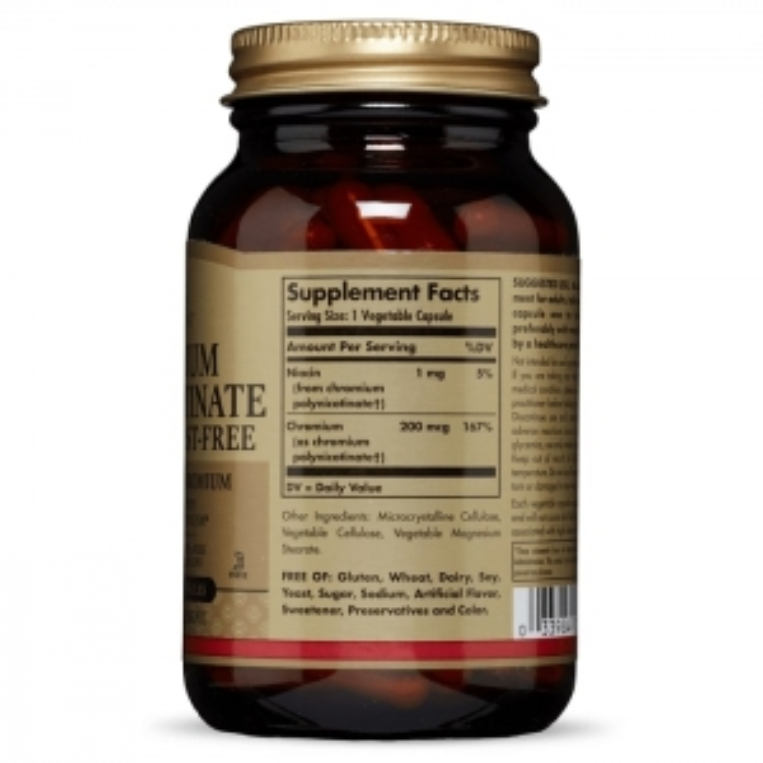 Хром полиникотинат, без дрожжей Solgar, 200 мкг, 100 капсул