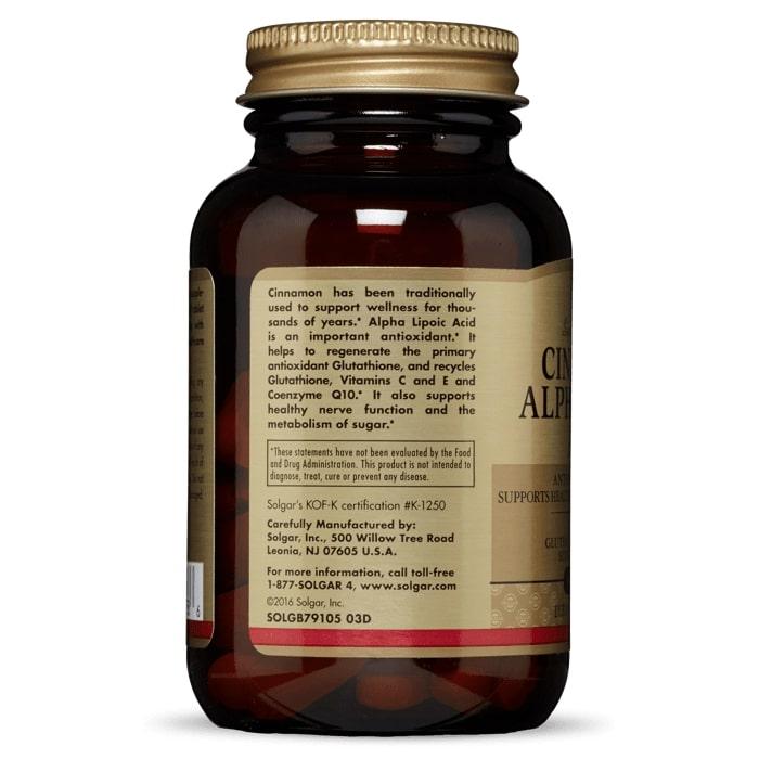 Альфа-липоевая кислота и корица, Solgar, 150 мг, 60 таблеток