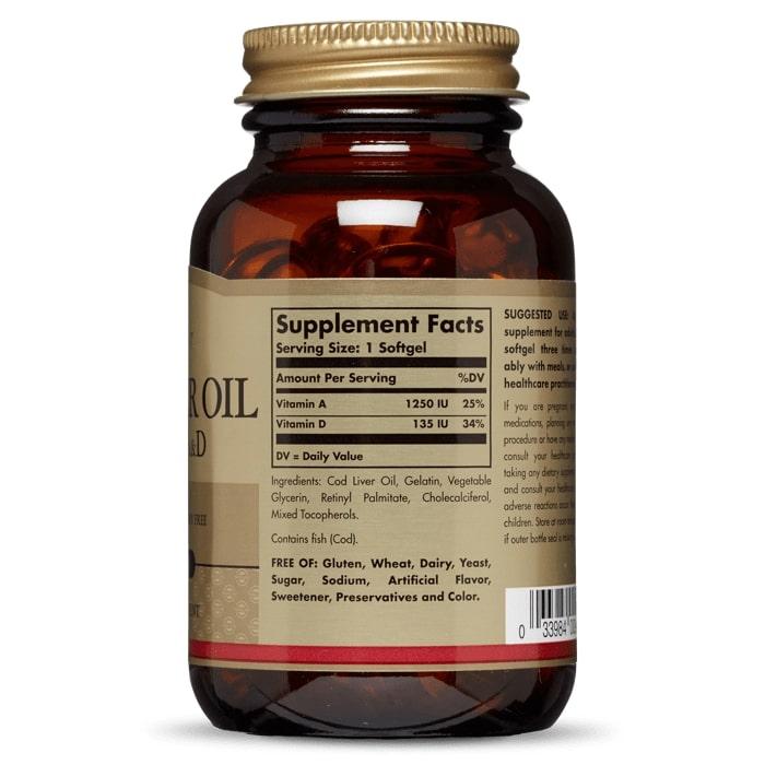Витамин A и D из печени трески, Solgar