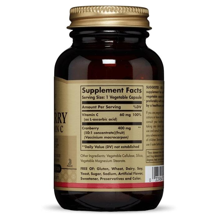 Клюква с витамином C, Solgar, 60 капсул