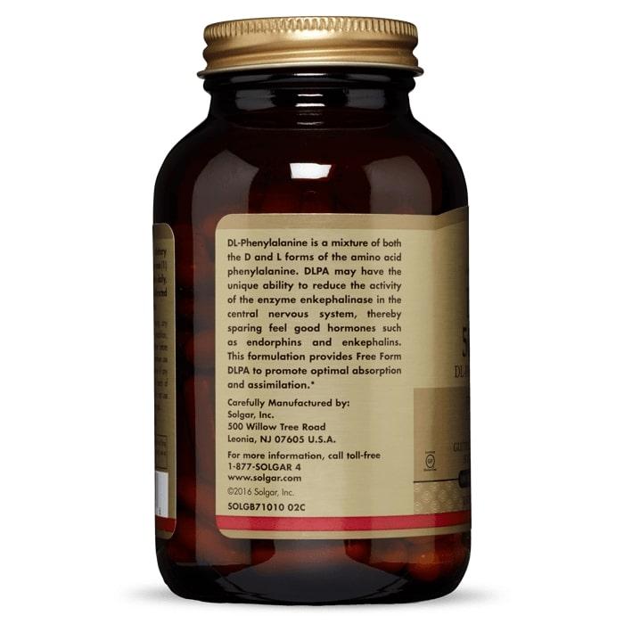 DL-Фенилаланин, DLPA, Solgar, 500 мг, 100 капсул