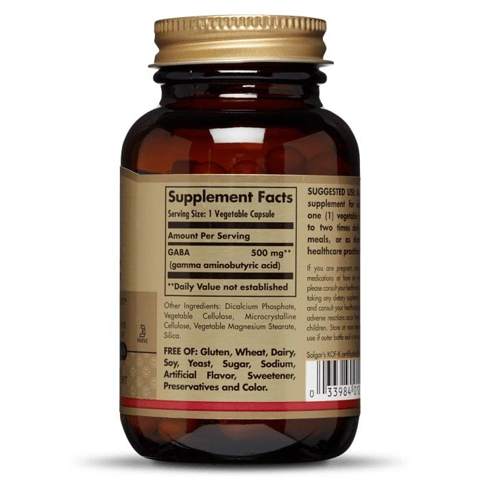 Гамма-аминомасляная кислота (GABA), Solgar, 500 мг.